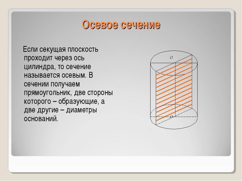 Осевое сечение Если секущая плоскость проходит через ось цилиндра, то сечение...