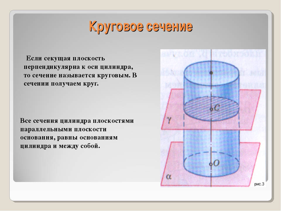 Круговое сечение Если секущая плоскость перпендикулярна к оси цилиндра, то се...