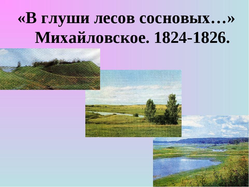 «В глуши лесов сосновых…» Михайловское. 1824-1826.