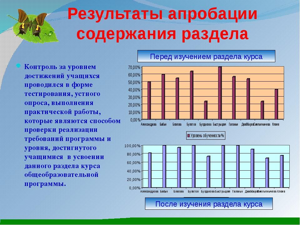 Результаты апробации содержания раздела Контроль за уровнем достижений учащих...