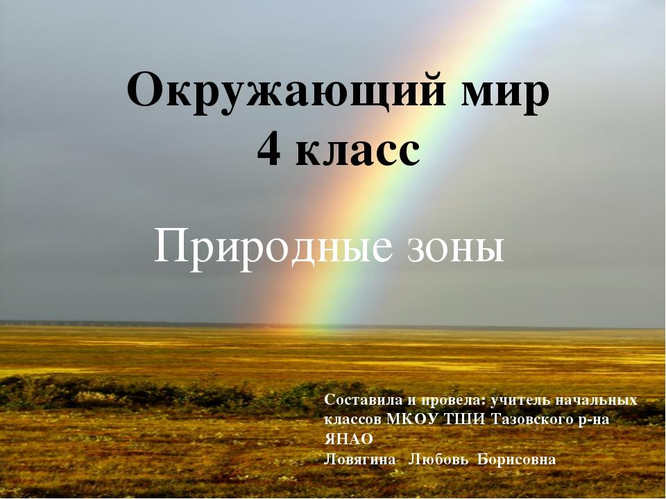Природные зоны Составила и провела: учитель начальных классов МКОУ ТШИ Тазовс...