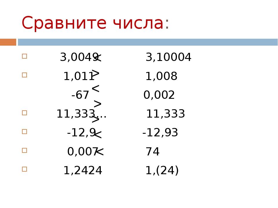 Сравните числа: 3,0049 3,10004 1,011 1,008 -67 0,002 11,333… 11,333 -12,9 -12...