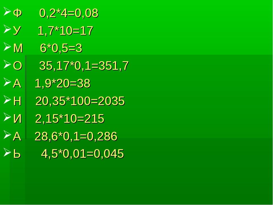 Ф 0,2*4=0,08 У 1,7*10=17 М 6*0,5=3 О 35,17*0,1=351,7 А 1,9*20=38 Н 20,35*100=...