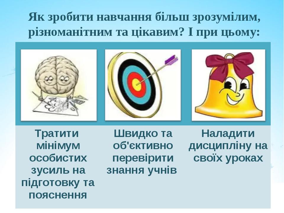Як зробити навчання більш зрозумілим, різноманітним та цікавим? І при цьому:...