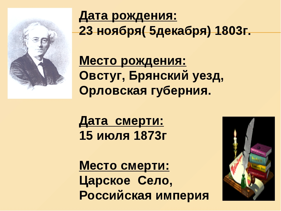 Дата рождения: 23 ноября( 5декабря) 1803г. Место рождения: Овстуг, Брянский у...