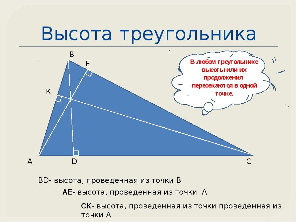 Высота треугольника А В С D BD- высота, проведенная из точки В Е АЕ- высота,...