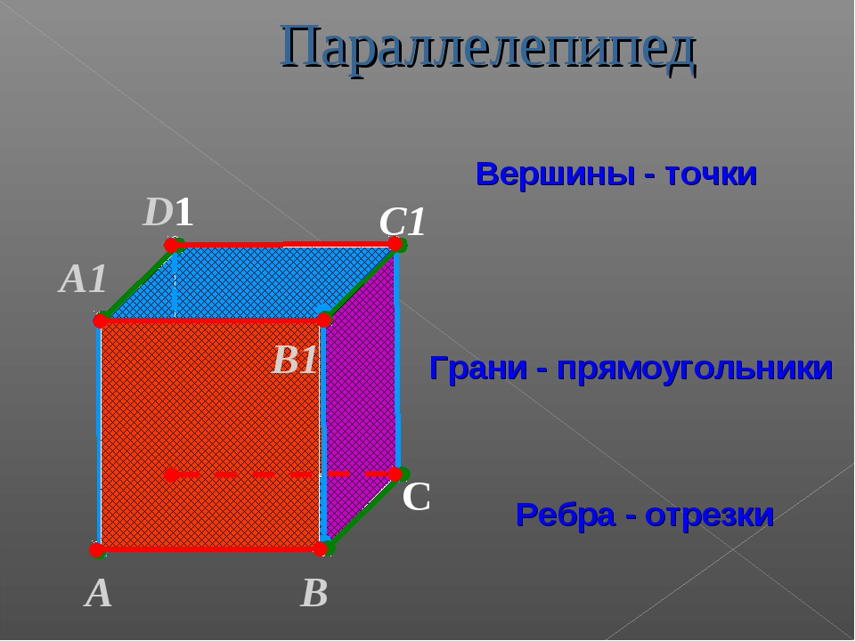 А В С D1 С1 Вершины - точки Грани - прямоугольники Ребра - отрезки А1 D В1 Па...