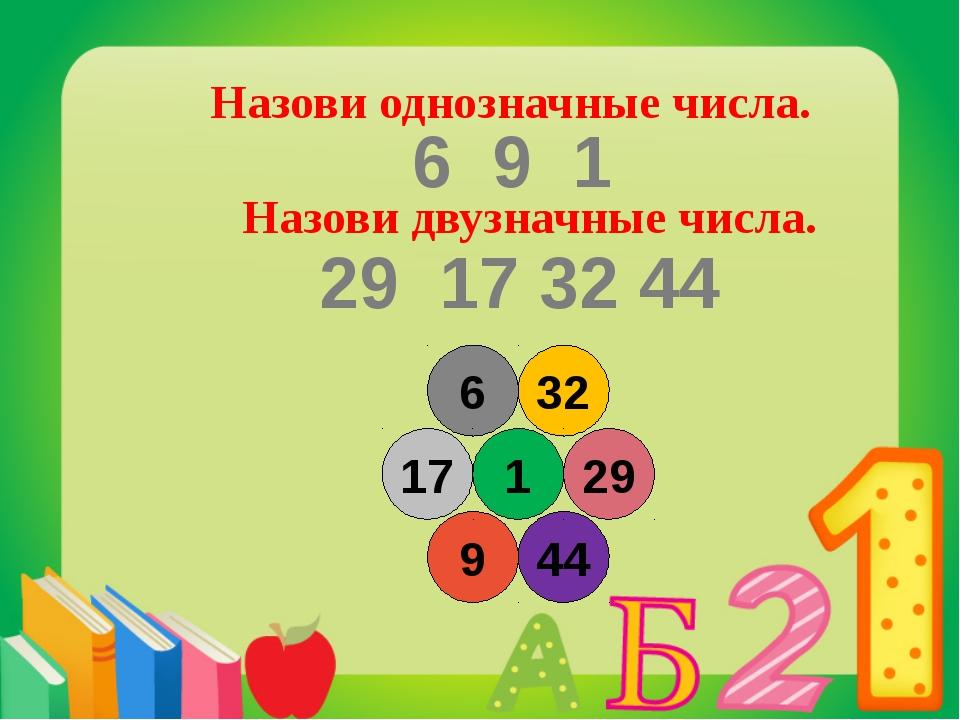 6 32 44 9 17 1 29 Назови однозначные числа. Назови двузначные числа. 6 9 1 29...