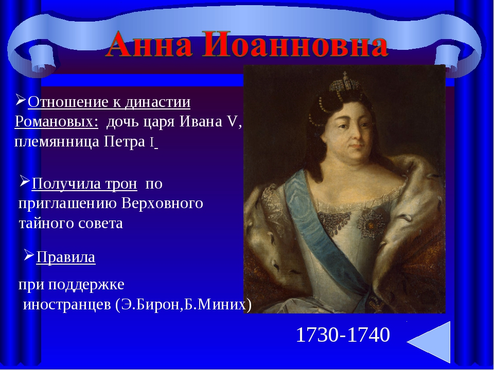 1730-1740 Отношение к династии Романовых: дочь царя Ивана V, племянница Петра...