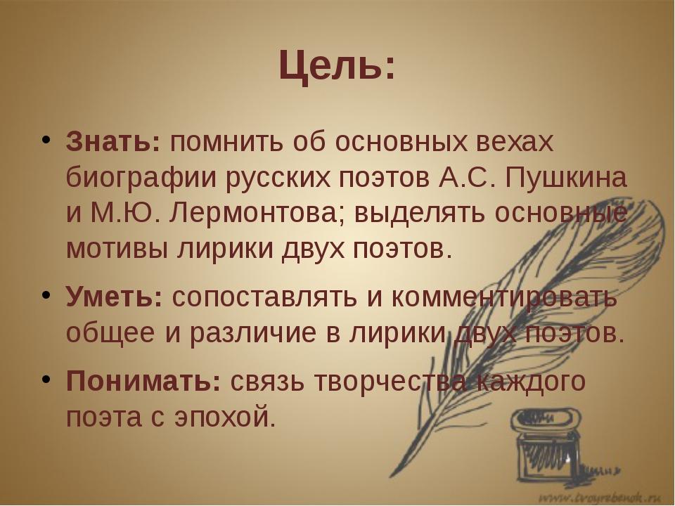 Цель: Знать: помнить об основных вехах биографии русских поэтов А.С. Пушкина...