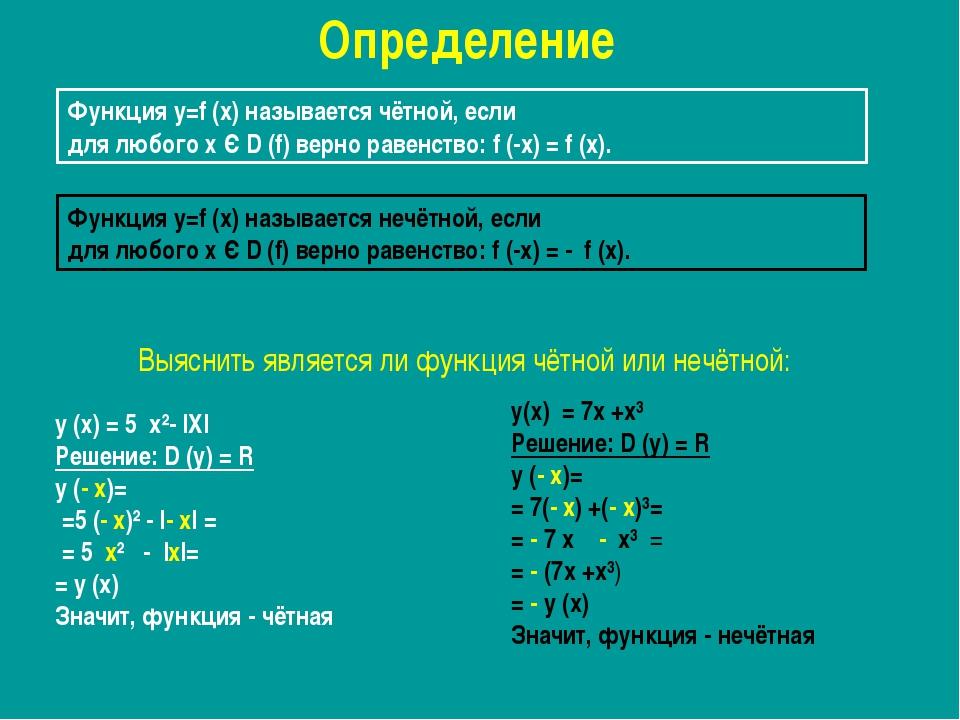 Функция y=f (x) называется чётной, если для любого х Є D (f) верно равенство:...