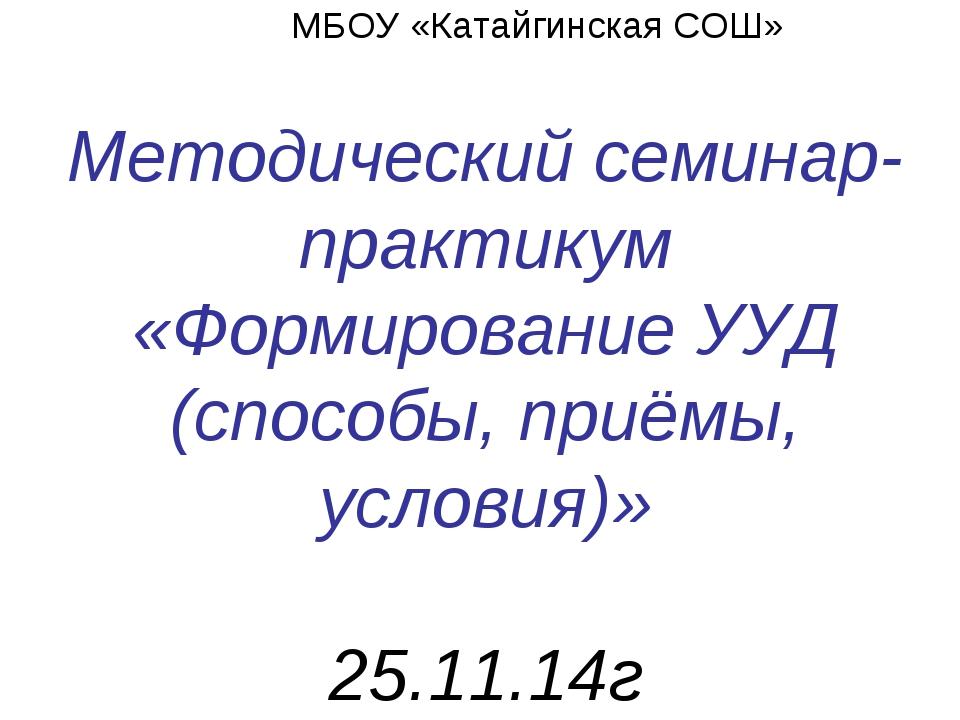 МБОУ «Катайгинская СОШ» Методический семинар-практикум «Формирование УУД (сп...