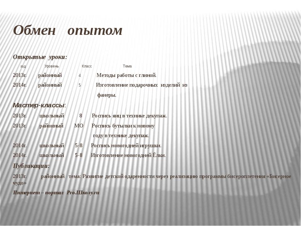 Обмен опытом Открытые уроки: год Уровень Класс Тема 2013г. районный 4 Методы...