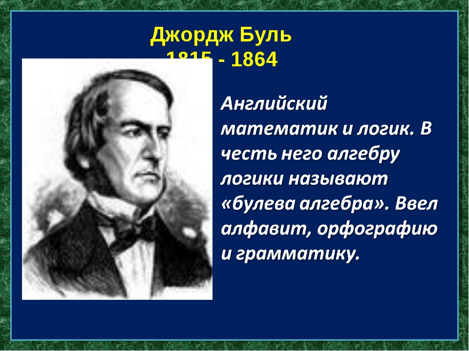 Готфрид Вильгельм фон Лейбниц 1646 - 1712 Джордж Буль 1815 - 1864