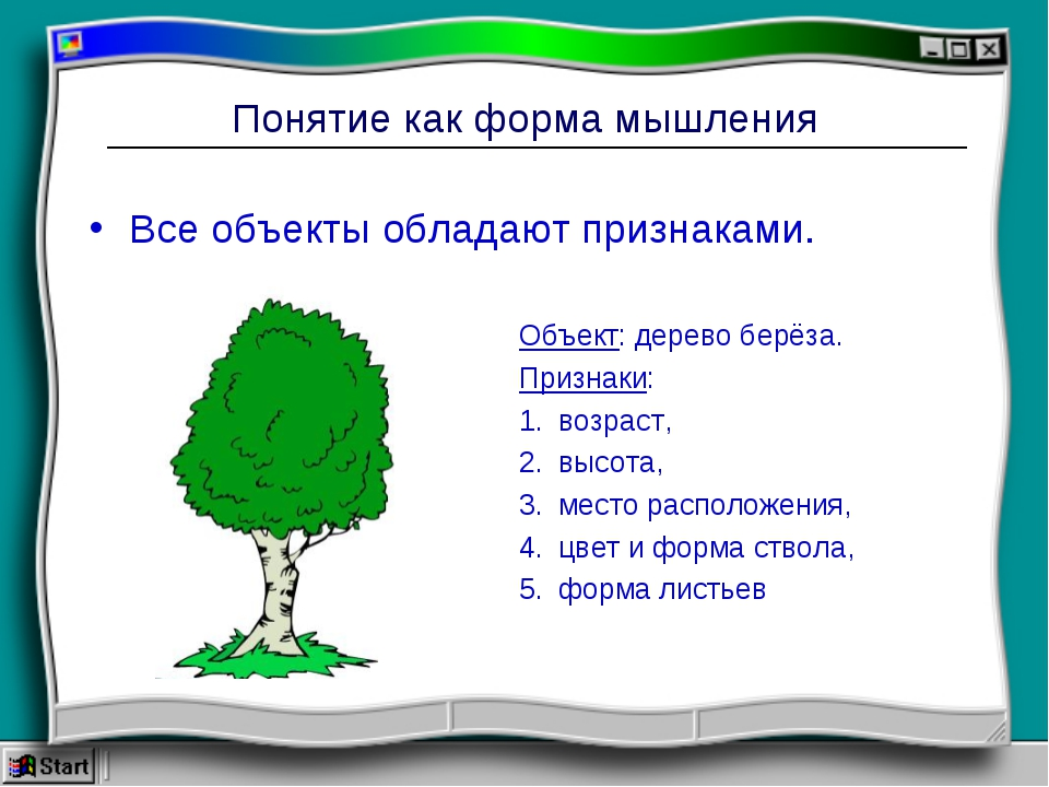 Понятие как форма мышления Все объекты обладают признаками. Объект: дерево бе...
