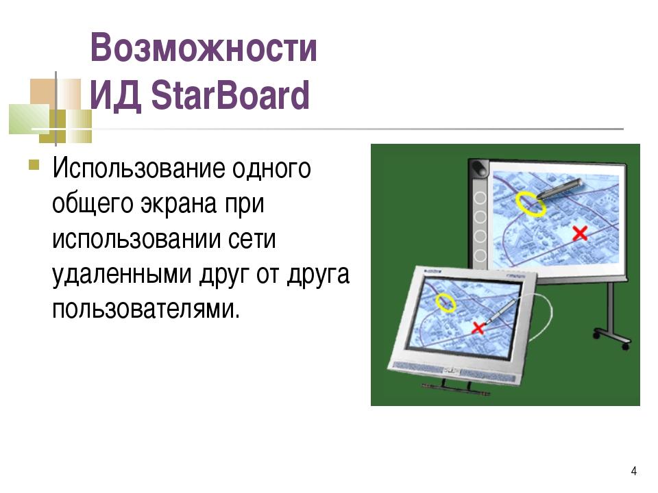 Возможности ИД StarBoard Использование одного общего экрана при использовании...