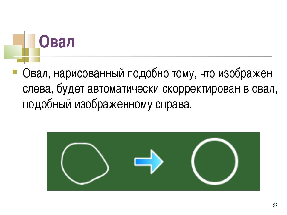 Овал Овал, нарисованный подобно тому, что изображен слева, будет автоматическ...