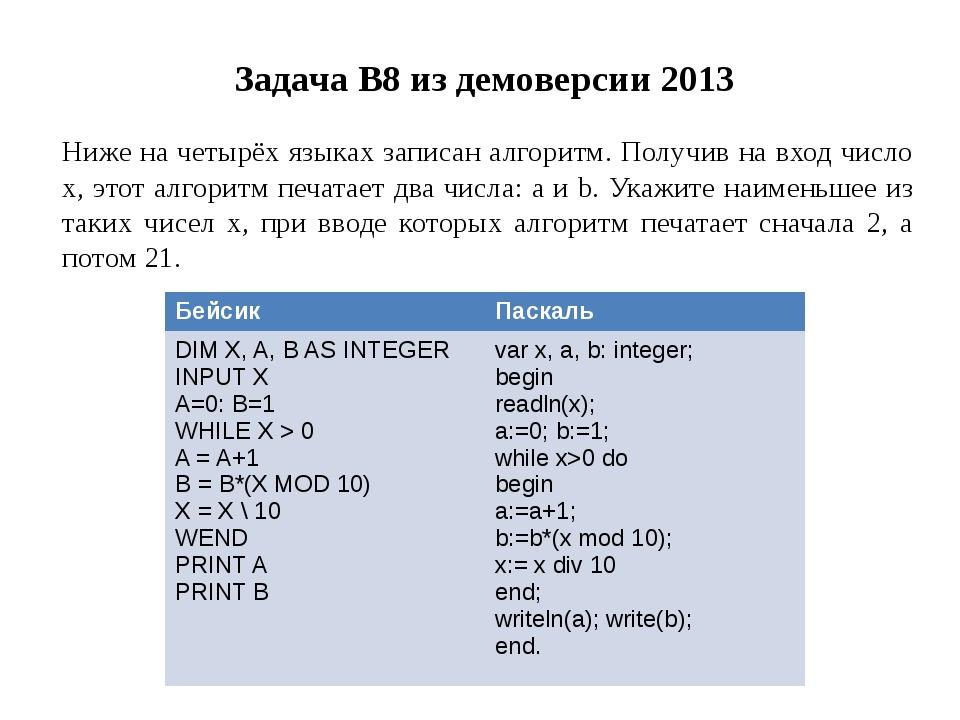 Задача B8 из демоверсии 2013 Ниже на четырёх языках записан алгоритм. Получив...