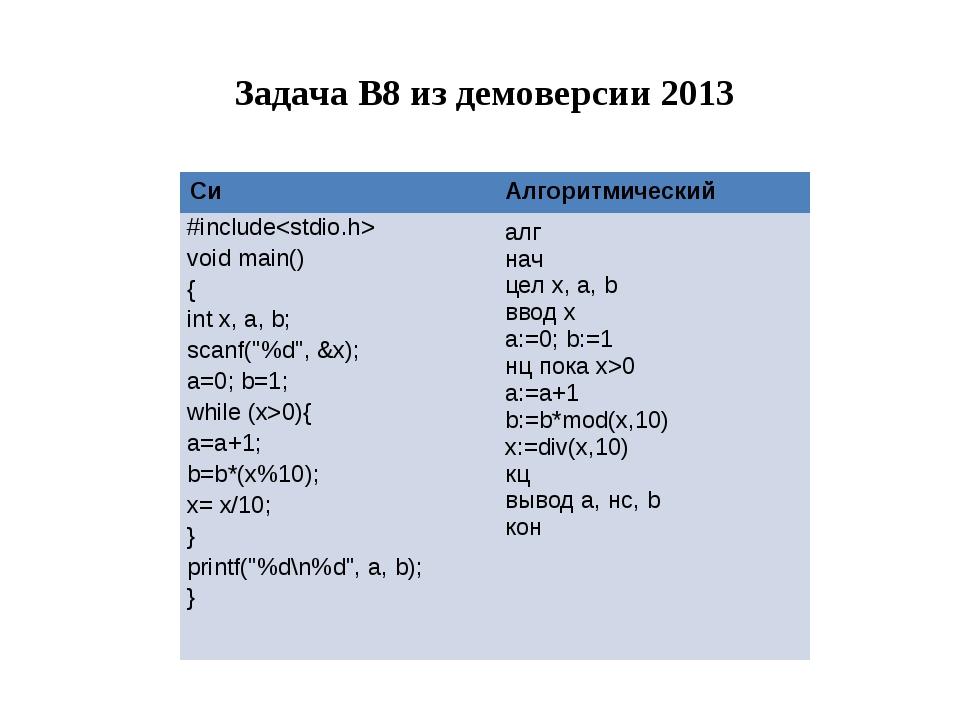 Задача B8 из демоверсии 2013 Си Алгоритмический #include void main() { intx,...