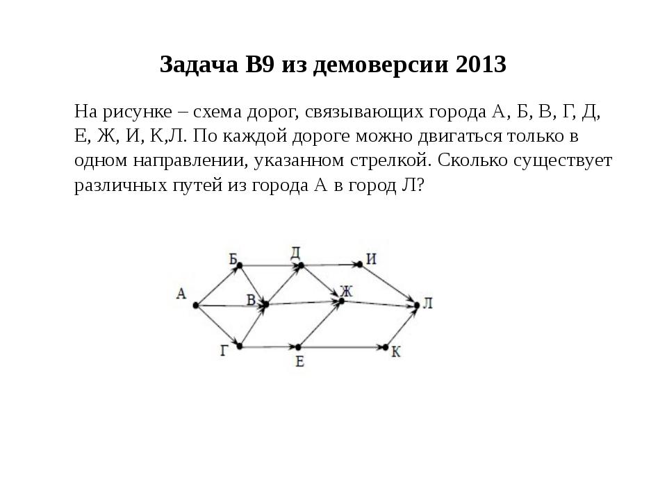 Задача B9 из демоверсии 2013 На рисунке – схема дорог, связывающих города А,...