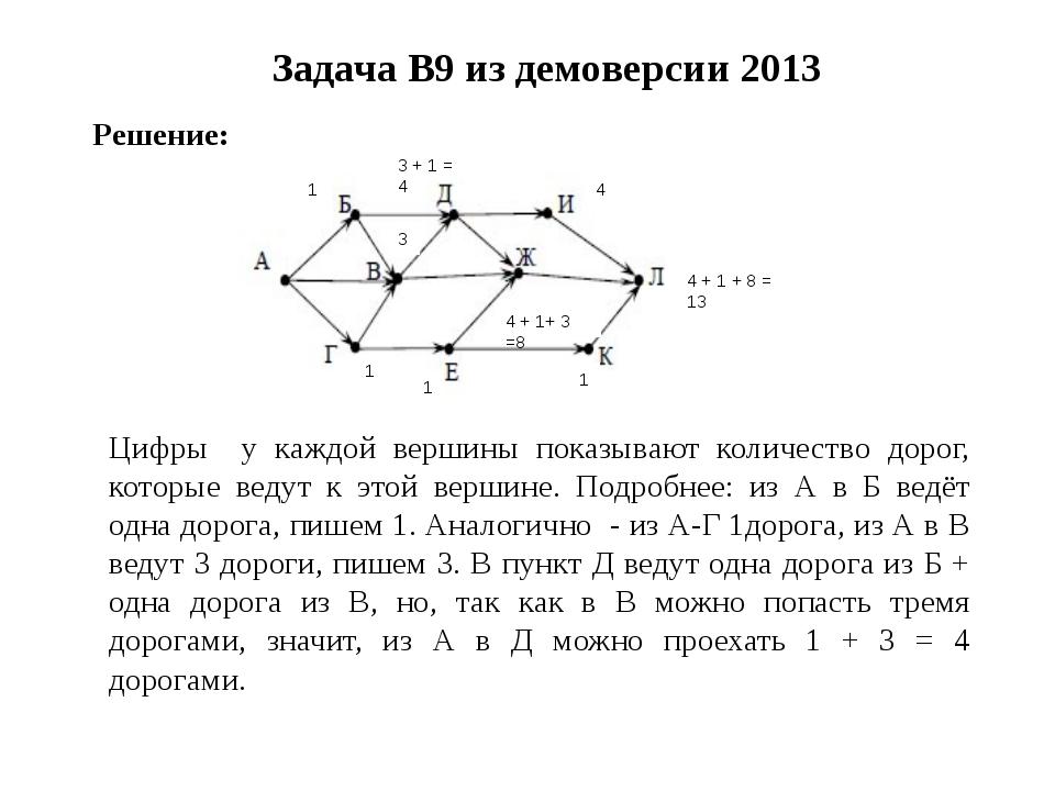 Задача B9 из демоверсии 2013 4 + 1 + 8 = 13 Решение: 3 + 1 = 4 1 1 1 1 3 4 +...