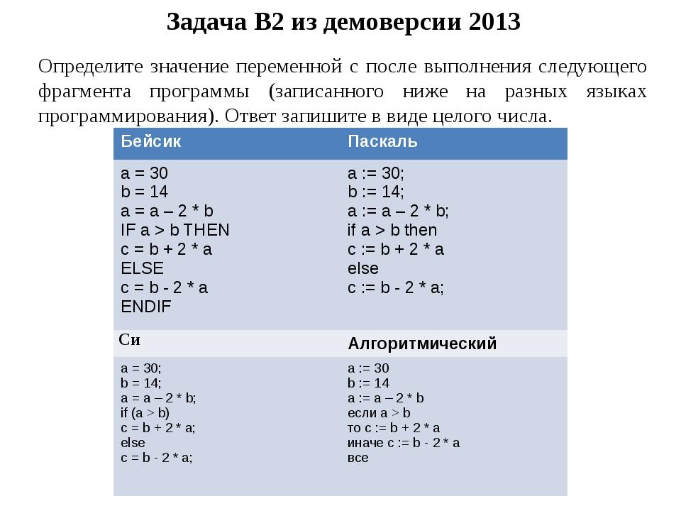 Задача B2 из демоверсии 2013 Определите значение переменной c после выполнени...