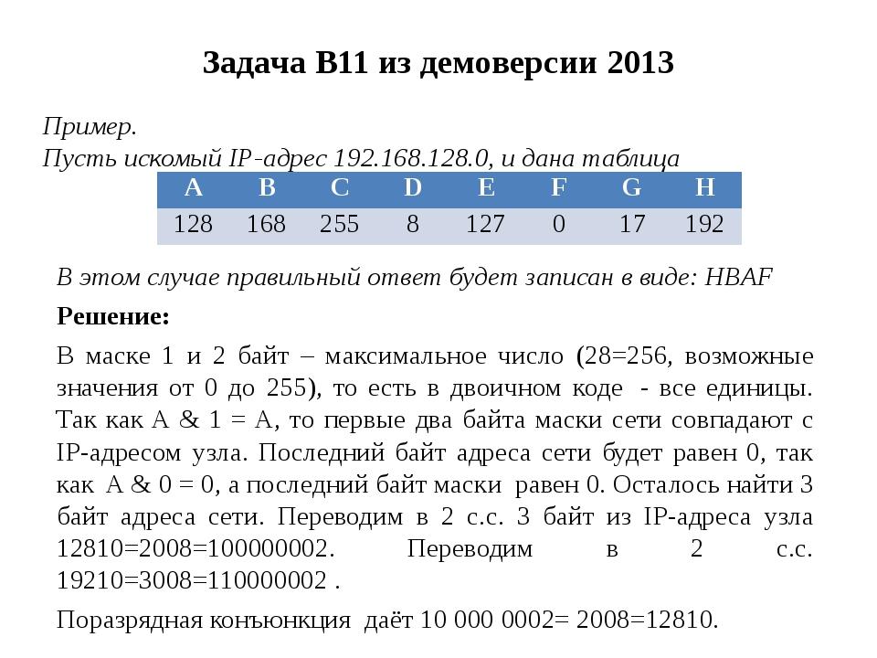 Задача B11 из демоверсии 2013 Пример. Пусть искомый IP-адрес 192.168.128.0, и...