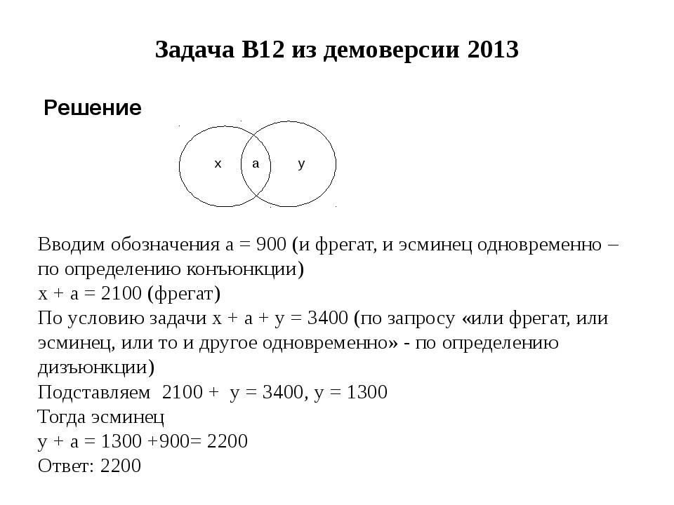 Задача B12 из демоверсии 2013 Решение Вводим обозначения a = 900 (и фрегат, и...