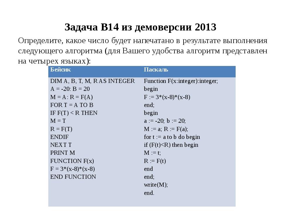 Задача B14 из демоверсии 2013 Определите, какое число будет напечатано в резу...