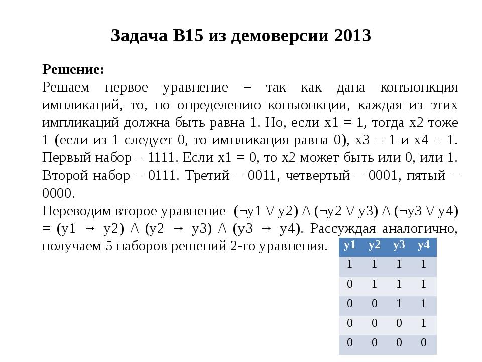 Задача B15 из демоверсии 2013 Решение: Решаем первое уравнение – так как дана...