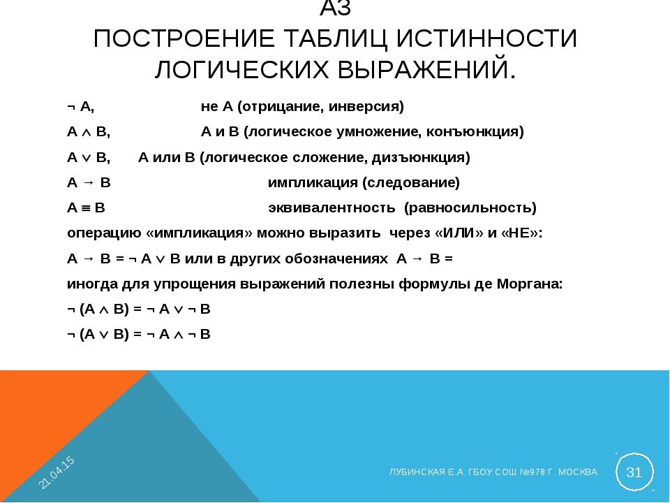 ¬ A, не A (отрицание, инверсия) A  B, A и B (логическое умножение, конъю...