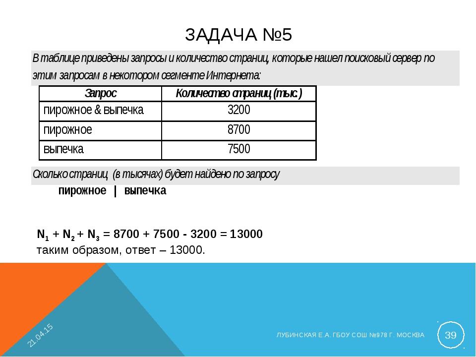 ЗАДАЧА №5 N1 + N2 + N3 = 8700 + 7500 - 3200 = 13000 таким образом, ответ – 13...