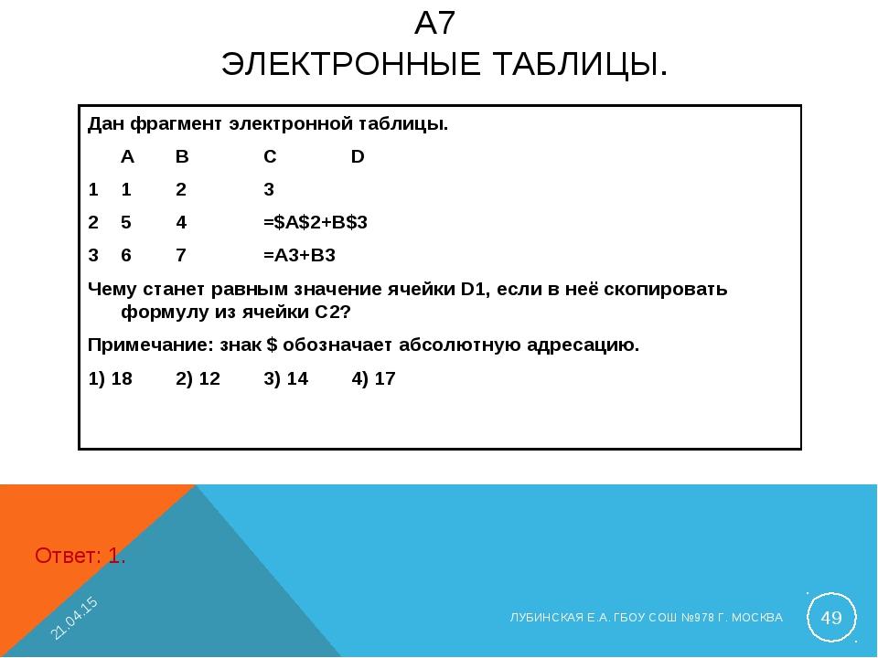 A7 ЭЛЕКТРОННЫЕ ТАБЛИЦЫ. Дан фрагмент электронной таблицы. ABCD 1123 2...