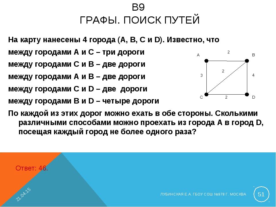 B9 ГРАФЫ. ПОИСК ПУТЕЙ На карту нанесены 4 города (A, B, C и D). Известно, что...