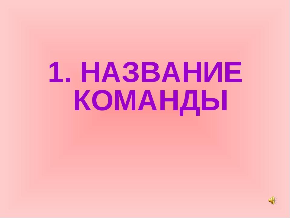 1. НАЗВАНИЕ КОМАНДЫ
