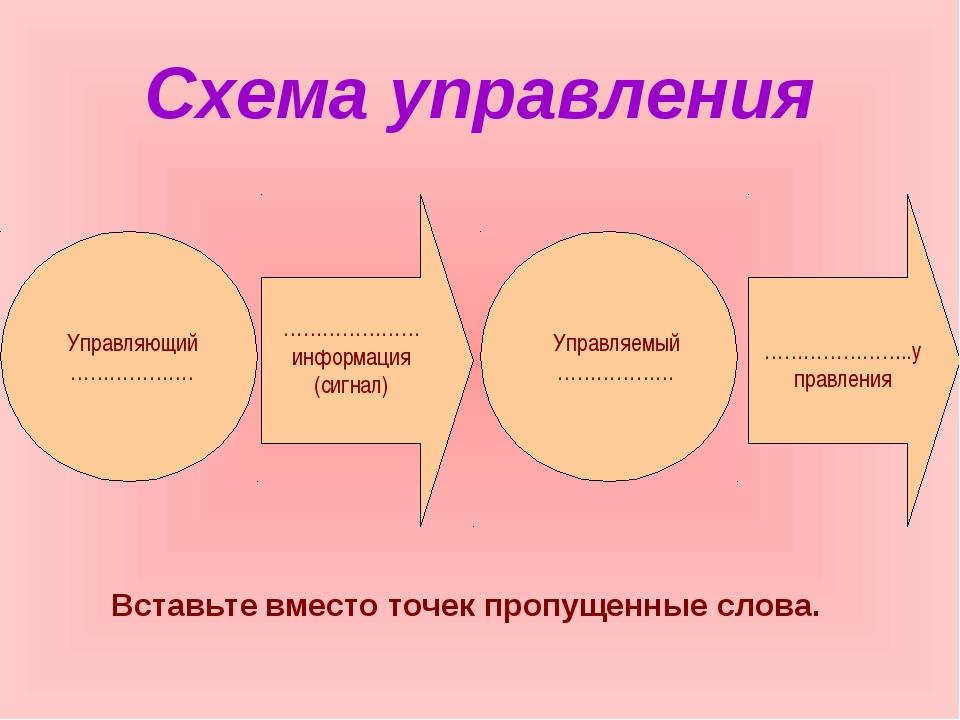 Схема управления Вставьте вместо точек пропущенные слова.