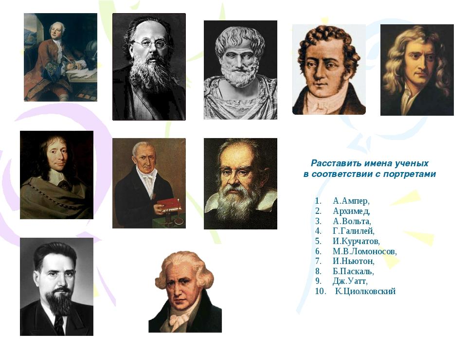 Расставить имена ученых в соответствии с портретами А.Ампер, Архимед, А.Вольт...