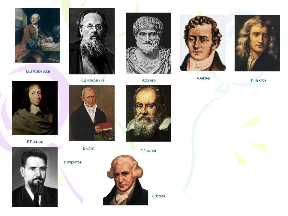 А.Ампер Архимед Г.Галилей И.Курчатов И.Ньютон М.В.Ломоносов К.Циолковский Б.П...