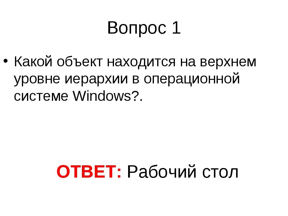 Вопрос 1 Какой объект находится на верхнем уровне иерархии в операционной сис...
