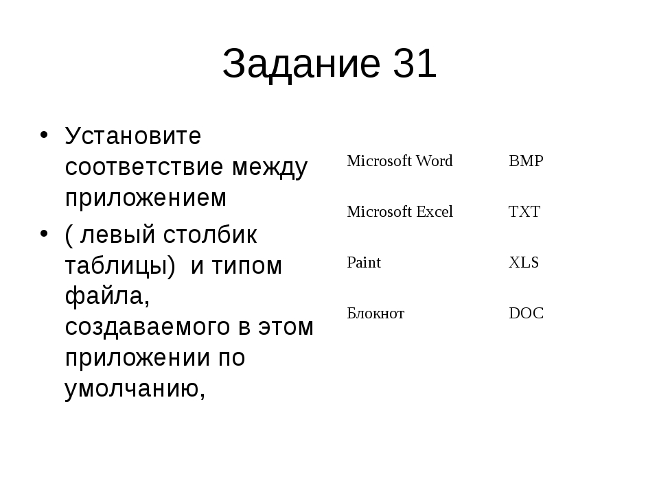Задание 31 Установите соответствие между приложением ( левый столбик таблицы)...