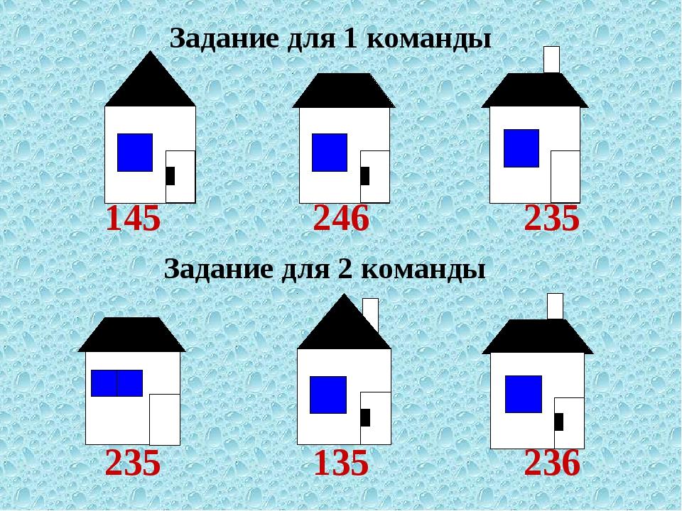 Задание для 2 команды Задание для 1 команды 145246235 235135236