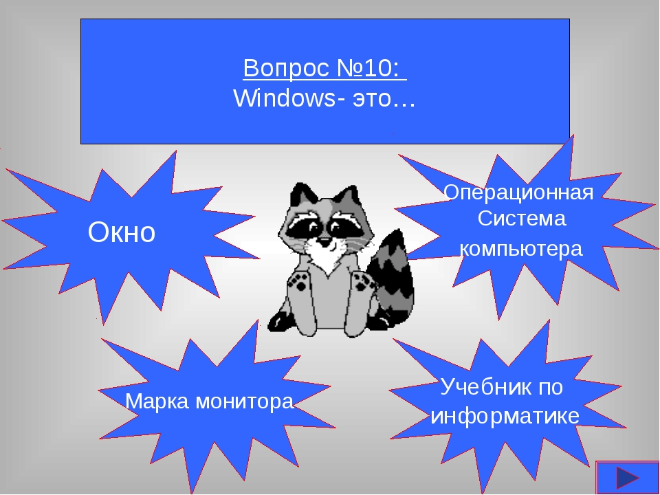 Вопрос №10: Windows- это… Окно Марка монитора Учебник по информатике Операцио...