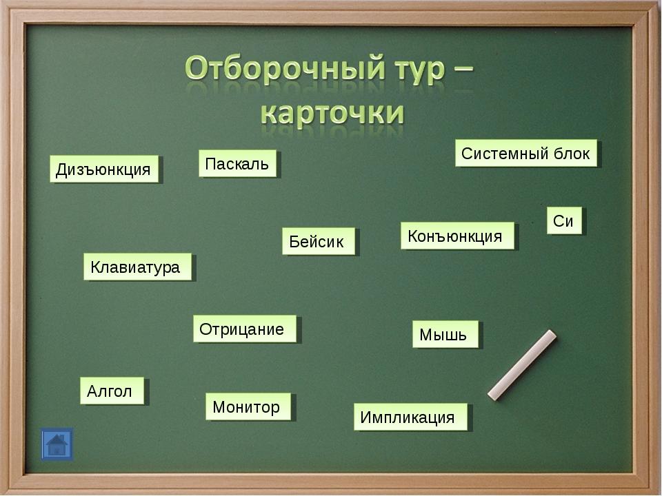 Дизъюнкция Импликация Конъюнкция Отрицание Клавиатура Монитор Мышь Системный...