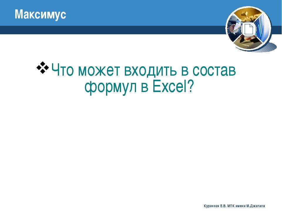 Что может входить в состав формул в Excel? Максимус Куринная Е.В. МПК имени М...