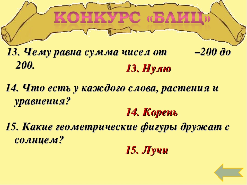 13. Чему равна сумма чисел от –200 до 200. 13. Нулю 14. Что есть у каждого сл...