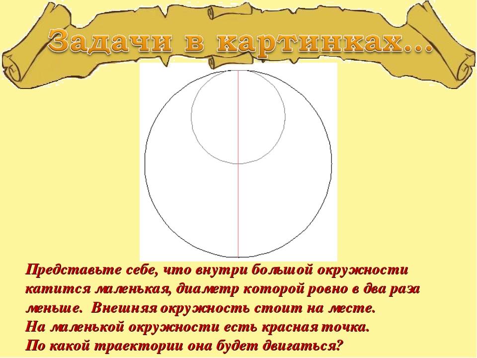 Представьте себе, что внутри большой окружности катится маленькая, диаметр ко...