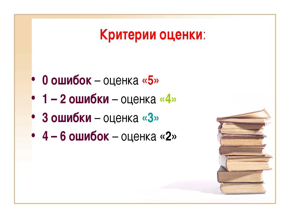 Критерии оценки: 0 ошибок – оценка «5» 1 – 2 ошибки – оценка «4» 3 ошибки – о...
