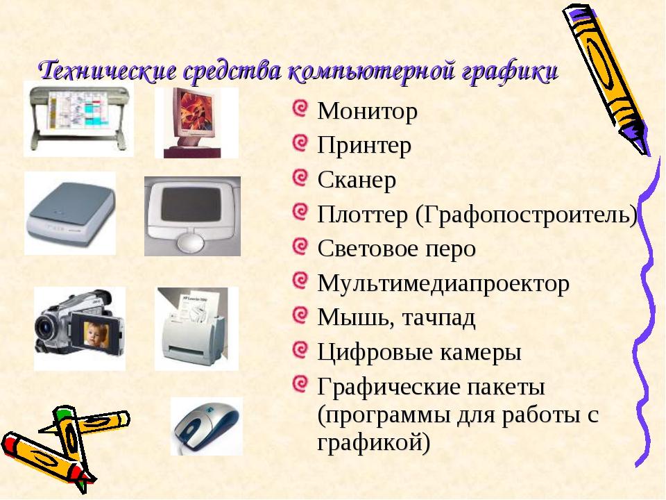 Технические средства компьютерной графики Монитор Принтер Сканер Плоттер (Гра...