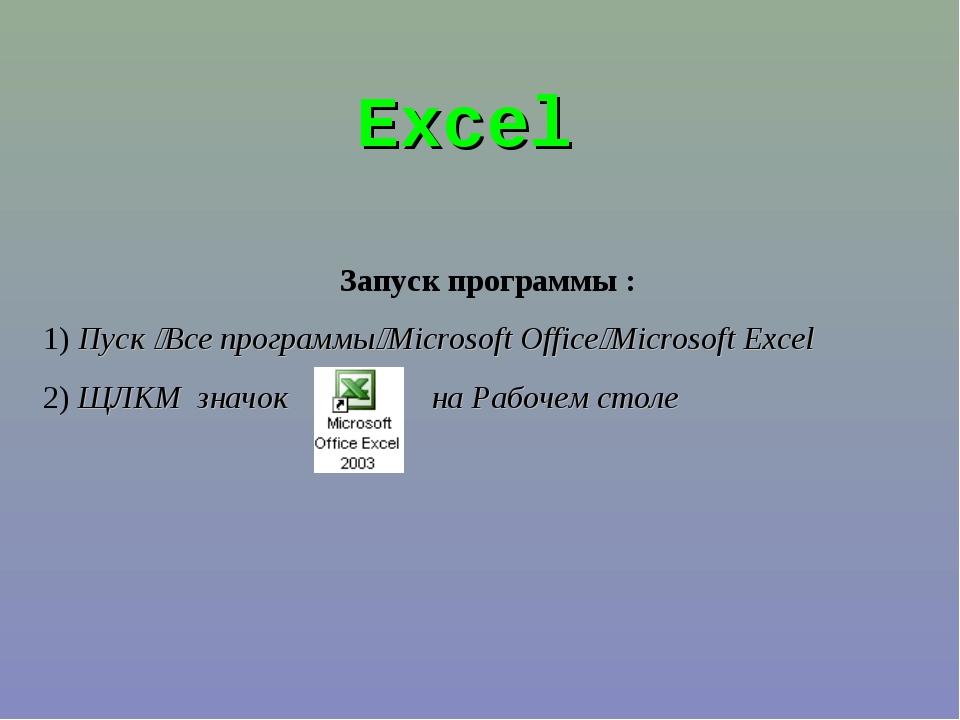 Excel Запуск программы : 1) Пуск Все программыMicrosoft OfficeMicrosoft Ex...