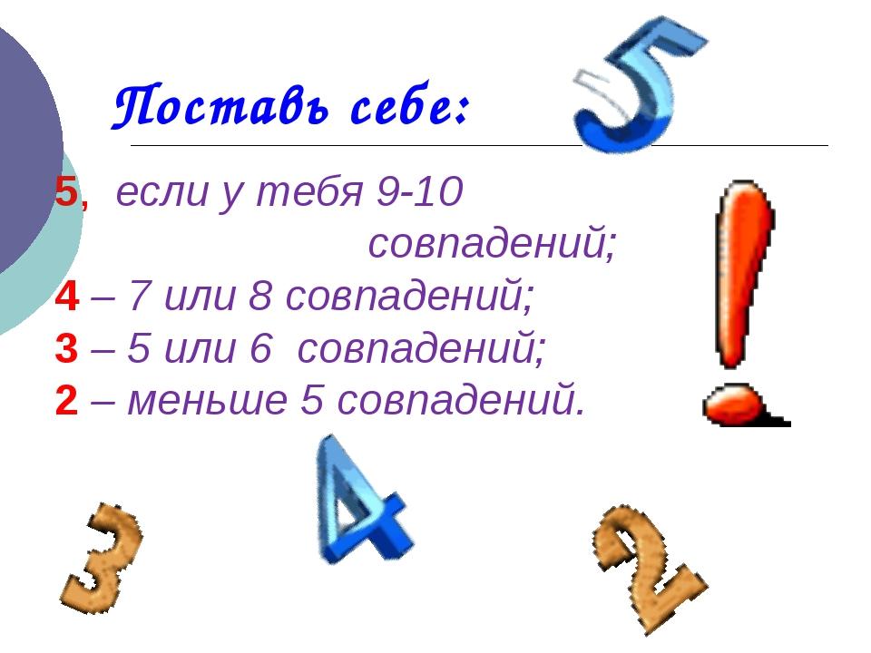 Поставь себе: 5, если у тебя 9-10 совпадений; 4 – 7 или 8 совпадений; 3 – 5 и...